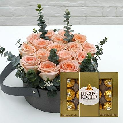 Sweet Pink Roses & Ferrero Rocher 12 Pcs