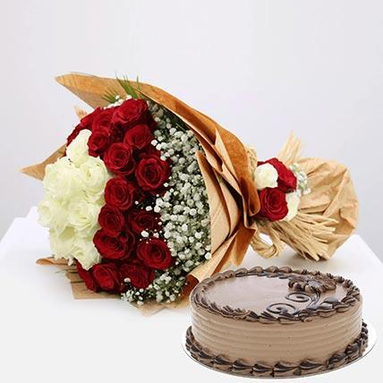 Tempting Cake & Roses Combo