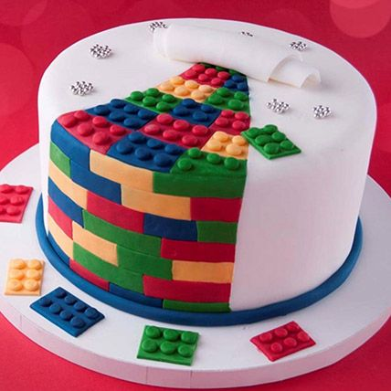 The Lego Blocks Theme Cake 16 Portions Chocolate