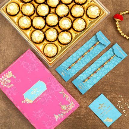 Traditional Pearl Studded Rakhi Set And 16 Pcs Ferrero Rocher