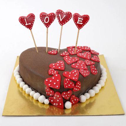 Valentine Red Hearts Chocolate Cake 1.5 Kg