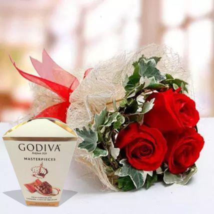 ورود عيد الحب وشوكولاتة جوديفا