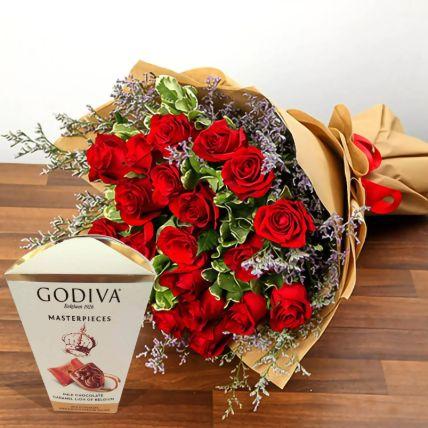 Valentine Special Roses & Godiva Chocolates