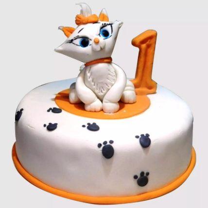White Cat Birthday Red Velvet Cake 1 Kg