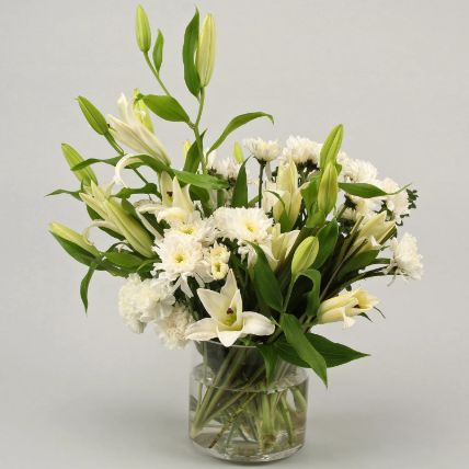 White Flowers In Cylinder Box