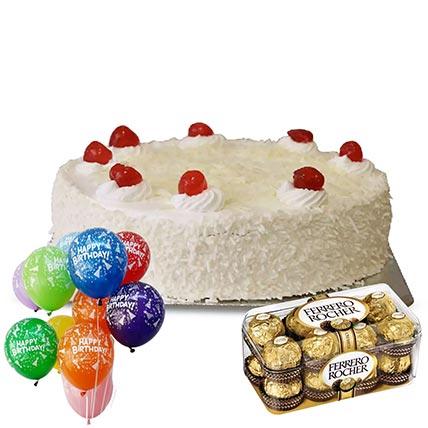 White Forest Cake with Ferrero Rocher- 16 Pcs