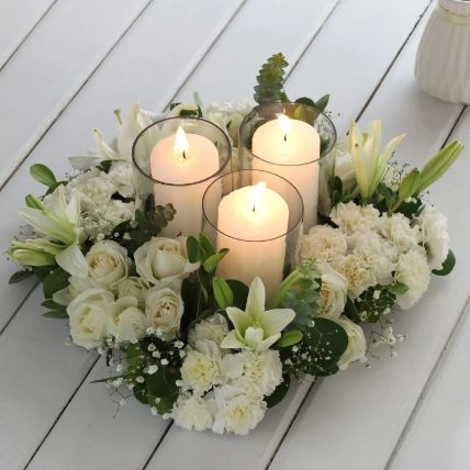 White Gorgeous Flowers In Wooden Tray