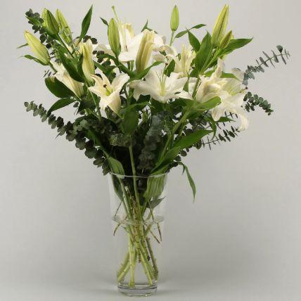 White Oriental Lilies In Vase