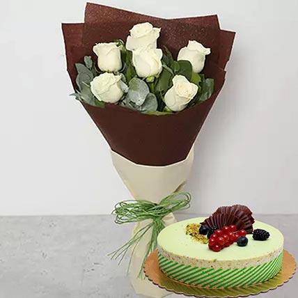 White Roses & Kifaya Cake 8 Portions