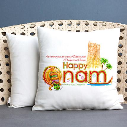 Wishing Happy Onam White Printed Cushion