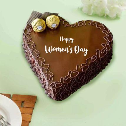 Womens Day Heart Shape Chocolate Cake Half Kg