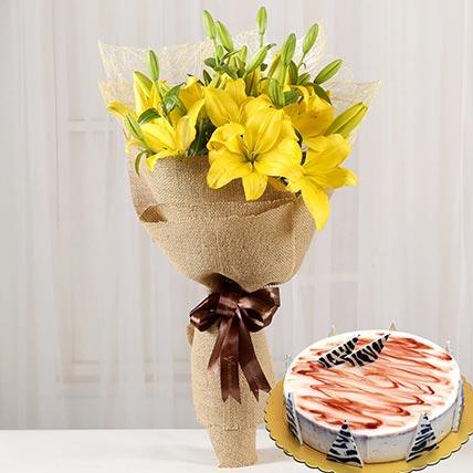Yellow Lilies & Choco Vanilla Cake 8 Portions