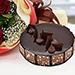 باقة ورد أنيقة مع كيكة الشوكولاتة