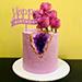 كيكة عيد ميلاد سعيد زهرية بالشوكولاتة مزينة بالزهور  1 كجم