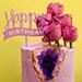 كيكة عيد ميلاد سعيد زهرية بالشوكولاتة مزينة بالزهور  1.5 كجم